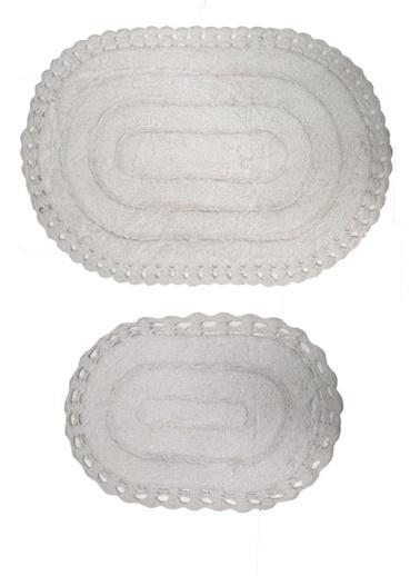 Giz Home Lace 2'li Set Klozet Takımı Oval Banyo Paspası Beyaz Beyaz